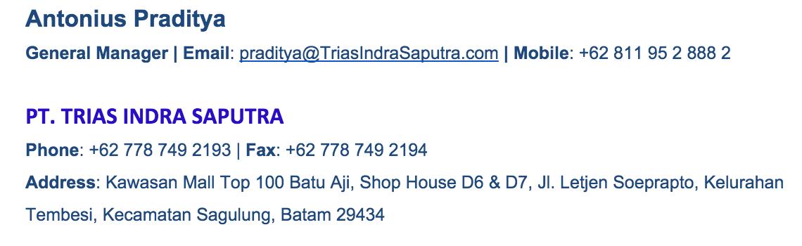 Praditya contact signature